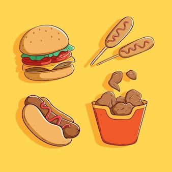 Conjunto de lindo y sabroso diseño de comida chatarra