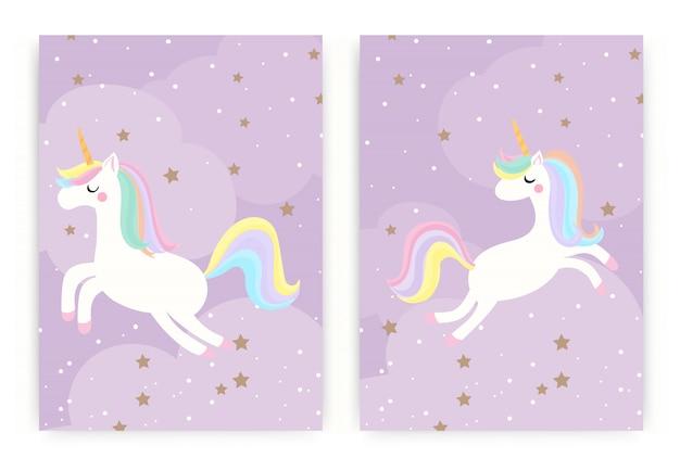 Conjunto de lindo unicornio mágico volando en el cielo con estrellas sobre fondo púrpura.