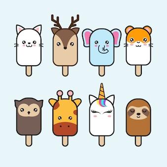 Conjunto lindo del vector del helado animal
