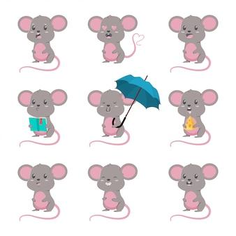 Conjunto lindo del vector del ratón de la historieta. ilustración de personaje de ratones con diferentes emociones aisladas
