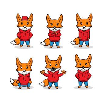 Conjunto de lindo zorro con diseño de logotipo de mascota con capucha
