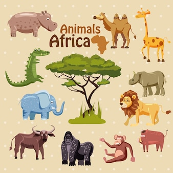 Conjunto de lindos animales africanos en estilo de dibujos animados