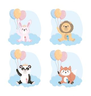 Conjunto de lindos animales con biberón y globos.