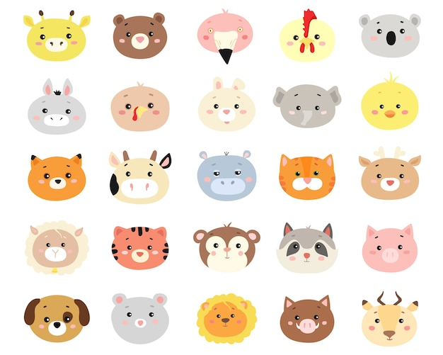 Conjunto de lindos animales de dibujos animados dibujados a mano.