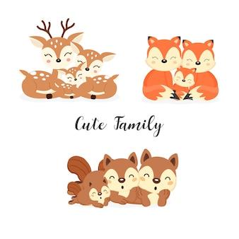 Conjunto de lindos animales de la familia del bosque. zorros, ciervos, dibujos animados de ardillas.