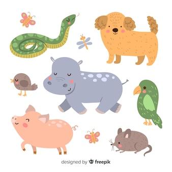 Conjunto de lindos animales ilustrados