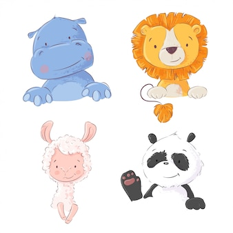 Conjunto de lindos animales tropicales hipopótamo, león, llama y panda.