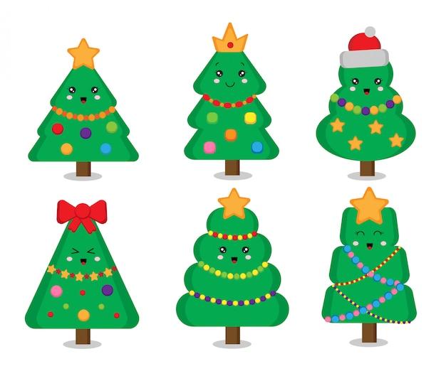 Conjunto de lindos árboles de navidad