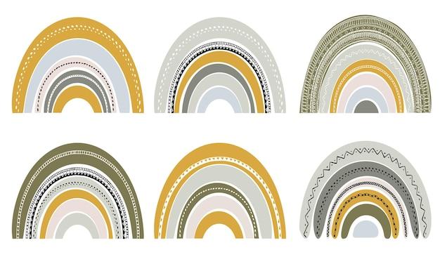Conjunto de lindos arco iris en estilo escandinavo. conjunto de acuarela