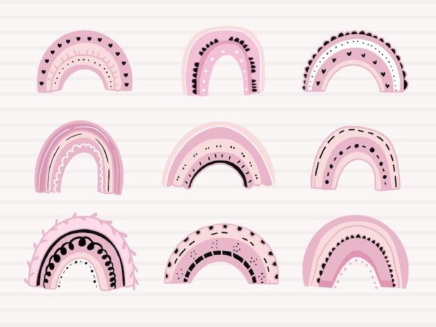 Conjunto de lindos arco iris rosas