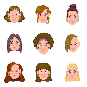 Conjunto de lindos avatares de mujeres planas con diferentes peinados