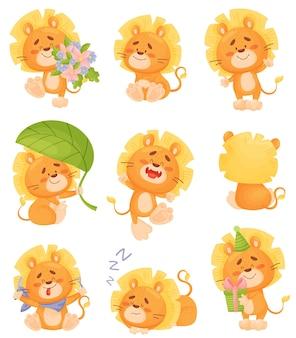 Conjunto de lindos cachorros de león humanizados con flores.