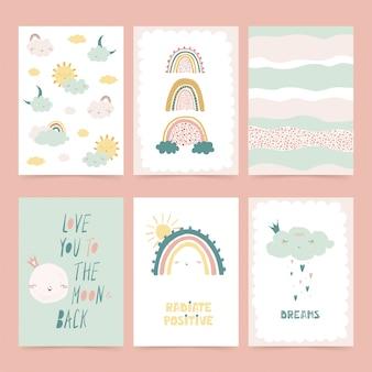 Conjunto de lindos carteles con arcoiris