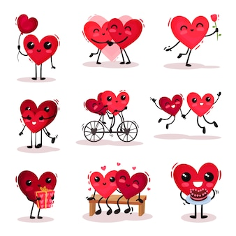 Conjunto de lindos corazones humanizados en diferentes acciones. parejas enamoradas tema del día de san valentín