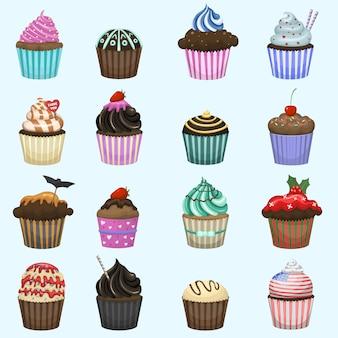 Conjunto de lindos cupcakes y muffins.