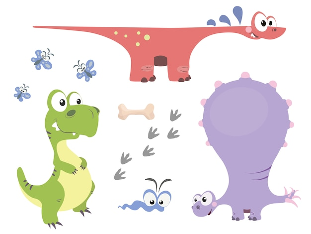 Conjunto de lindos dinosaurios en estilo de dibujos animados