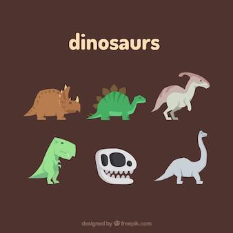 Conjunto de lindos dinosaurios