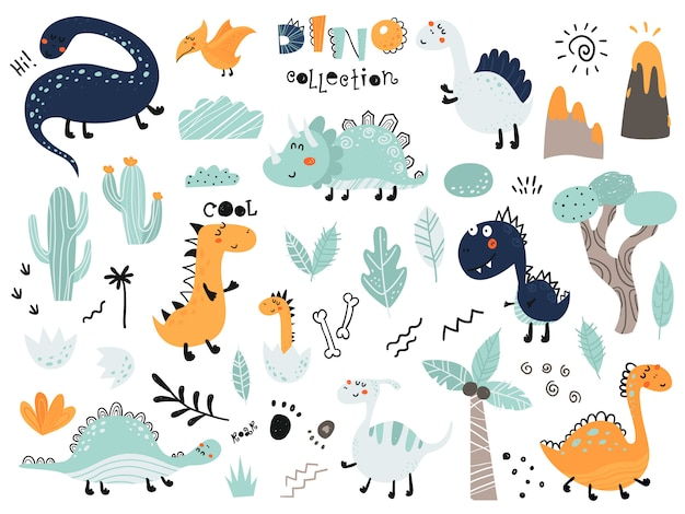 Conjunto de lindos dinosauts, follaje, volcán, cactus