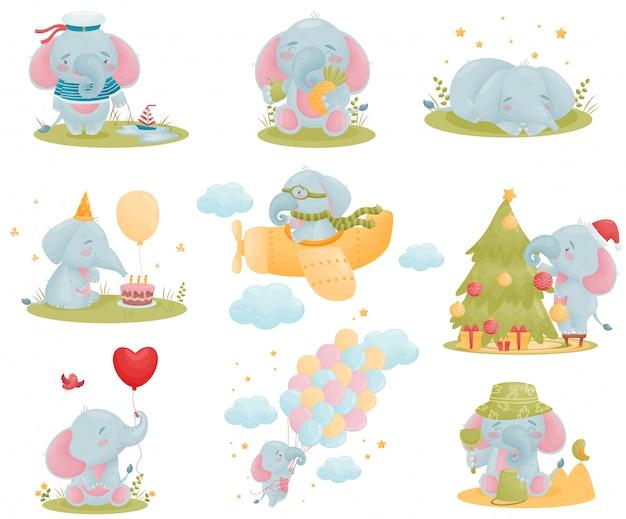 Conjunto de lindos elefantes humanizados en estilo de dibujos animados.