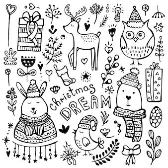 Conjunto de lindos elementos dibujados a mano de navidad, año nuevo e invierno aislado sobre fondo blanco.