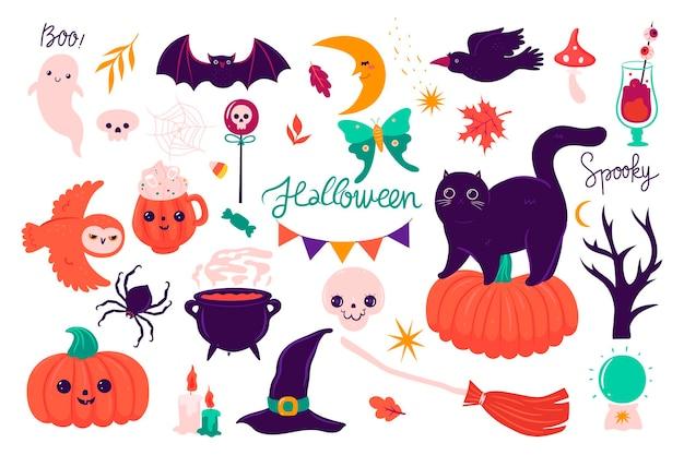 Conjunto de lindos elementos de halloween aislado sobre fondo blanco. gráficos vectoriales.