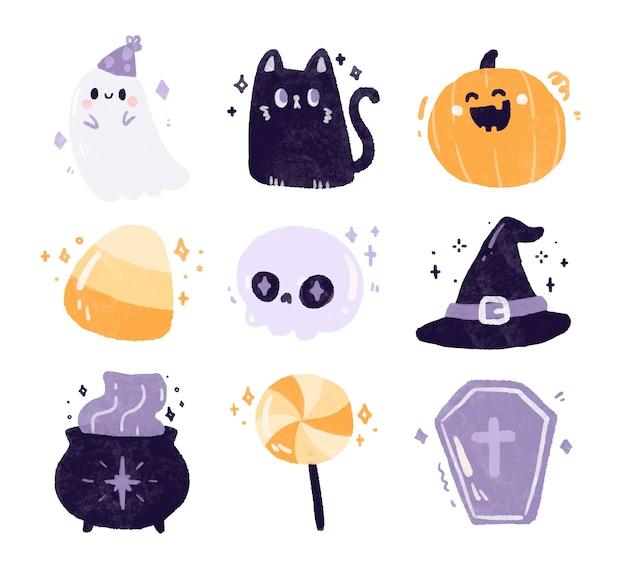 Conjunto de lindos elementos de halloween.