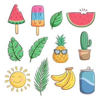 Conjunto de lindos elementos de verano con estilo doodle