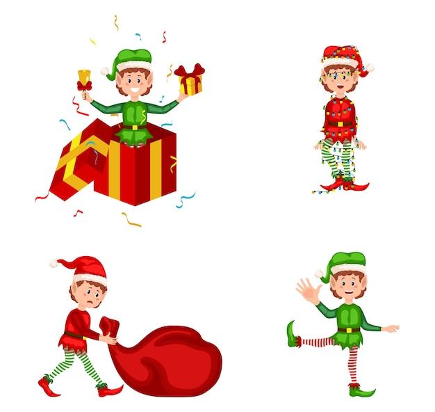 Conjunto de lindos elfos navideños juguetones