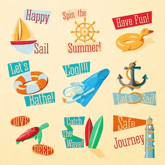 Conjunto de lindos emblemas de verano brillante con elementos tipográficos. yate, rueda, patito de goma, aro salvavidas, aletas, ancla, baliza, surf, tortuga, máscara de natación.