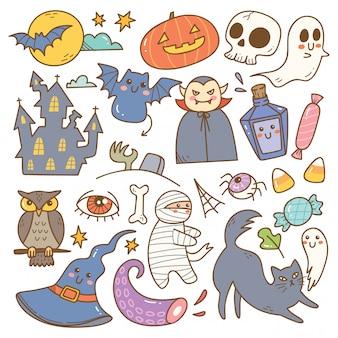 Conjunto de lindos garabatos de halloween
