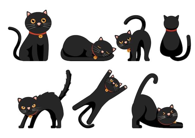 Conjunto de lindos gatos negros conjunto aislado sobre fondo blanco.