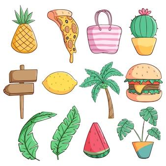 Conjunto de lindos iconos o elementos suumer con estilo doodle
