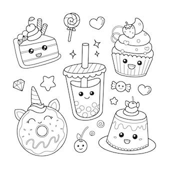 Conjunto de lindos iconos de postres dulces en estilo kawaii página para colorear