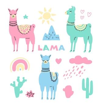 Conjunto de lindos lamas coloridos con cactus sol arco iris nube corazón estrella aislada en blanco