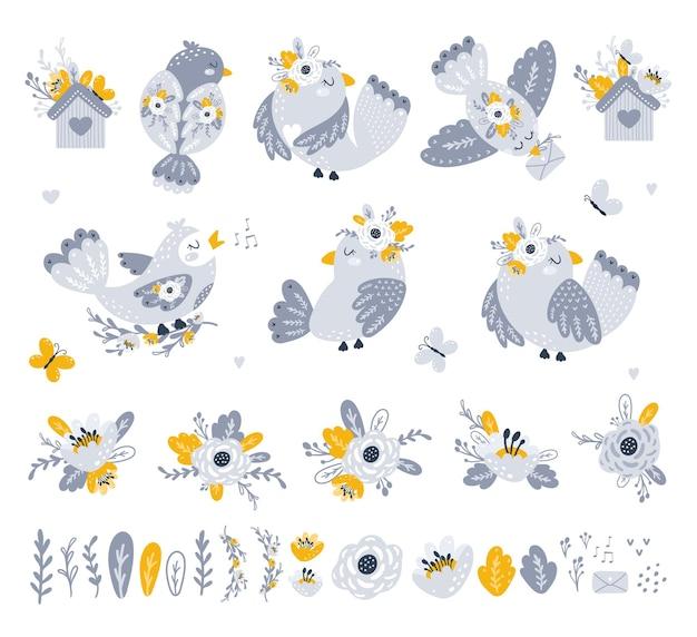 Conjunto con lindos pájaros y flores vector