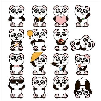 Conjunto de lindos pandas en estilo plano