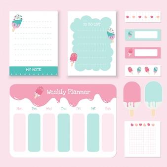 Conjunto de lindos papeles de nota, adhesivo y cinta adhesiva. colección de verano de planificador semanal y bloc de notas.