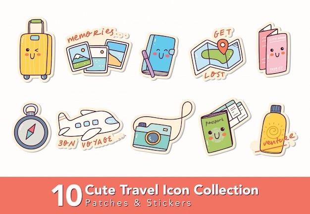 Conjunto de lindos parches de iconos de viaje y pegatina