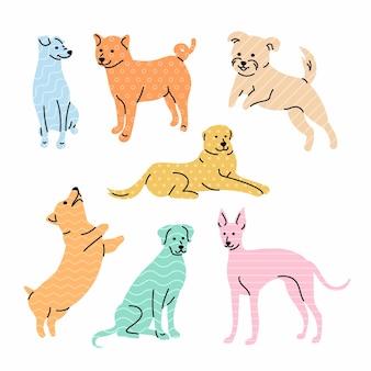 Conjunto de lindos perros de raza colorida esquema de diseño de personajes de estilo geométrico de moda