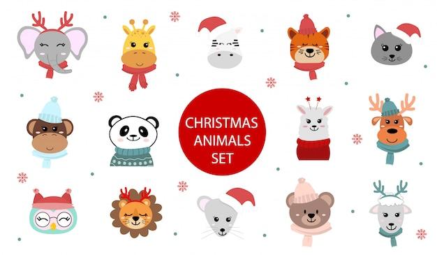 Conjunto de lindos personajes de animales navideños. zoológico de dibujos animados. ilustración en estilo plano. animales africanos y siberianos.