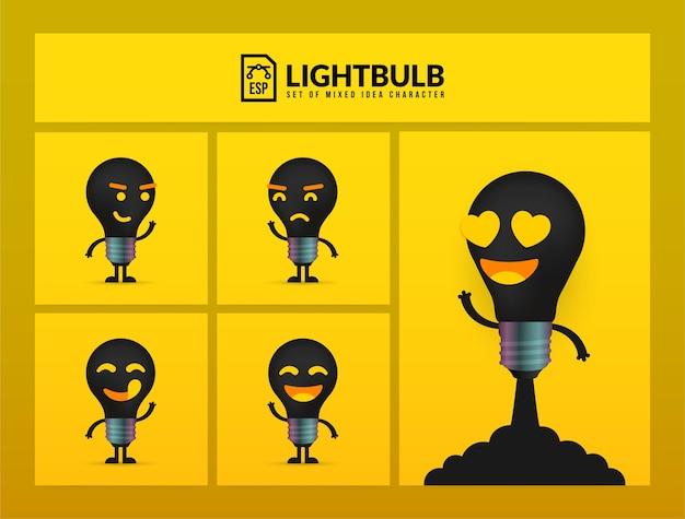 Conjunto de lindos personajes de bombilla sobre fondo amarillo