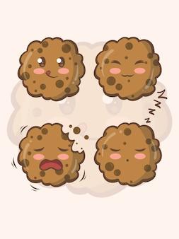 Conjunto de lindos personajes de dibujos animados e ilustraciones de galletas
