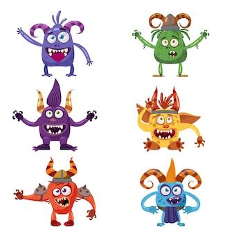 Conjunto de lindos personajes divertidos troll en estilo de dibujos animados