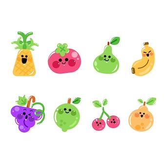 Conjunto de lindos personajes de frutas expresivas