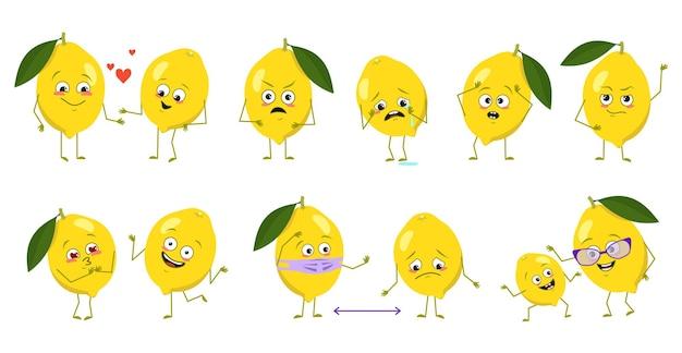 Conjunto de lindos personajes de limón con emociones caras brazos y piernas héroes felices o tristes frutas cítricas pla ...