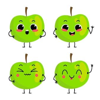 Un conjunto de lindos personajes de manzana verde ilustración con carácter de fruta aislado en el fondo