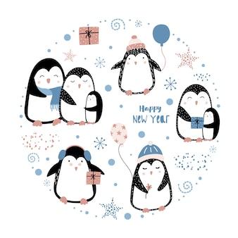Conjunto de lindos pingüinos de navidad