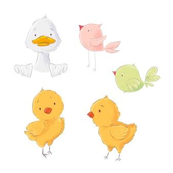Conjunto de lindos pollos y patitos de aves de corral