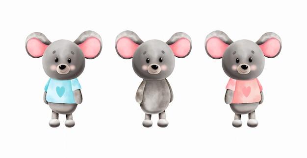 Conjunto de lindos ratones acuarela. ilustración infantil.