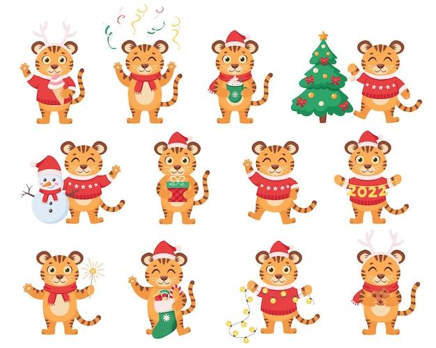 Conjunto de lindos tigres año nuevo 2022 año del tigre